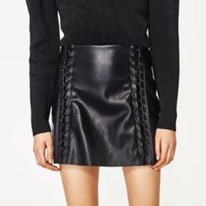 Braided Faux Leather Mini Skirt
